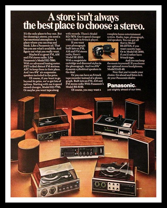 1972 Panasonic Audio Ad - Phonograph - Tuner - Receiver - Speakers - Headphones - Wall Art - Decor - Retro Vintage Electronics Advertising