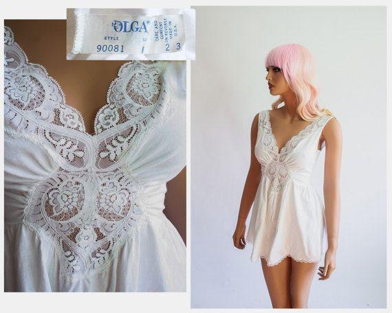 Olga RARE Cotton Nightie White Babydoll Spandex Lace Lingerie Short Nightgown Mini Chemise Cami Sleepwear Pajamas Sleep Shirt Top Pjs Small