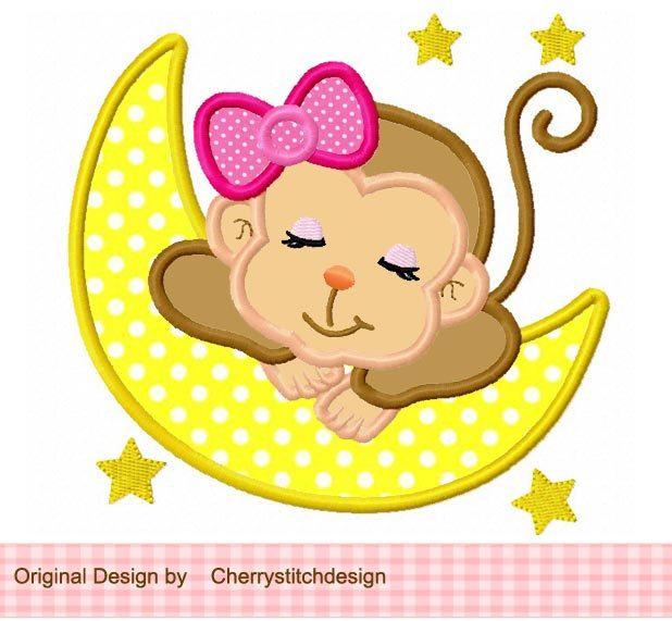Sleeping baby monkey for girls digital by CherryStitchDesign, $2.99