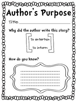 Comprehension Skill Graphic Organizer: Author's Purpose