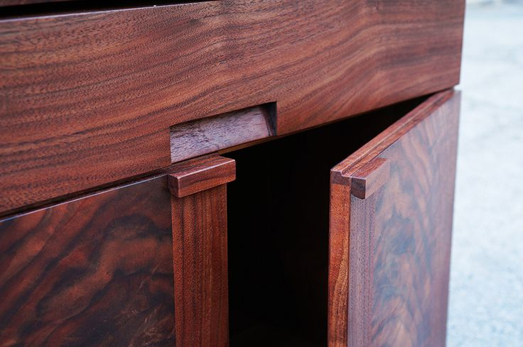 Claro Walnut Bedside tables made by the Offerman Woodshop. Made in the USA.