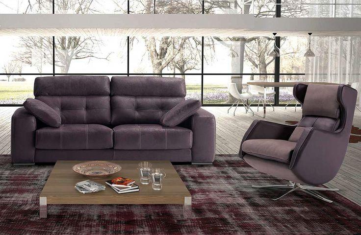 Sofá moderno de 3+2 plazas y con chaise-longue, modelo London fabricado en España por Divani Star en Sofassinfin.es