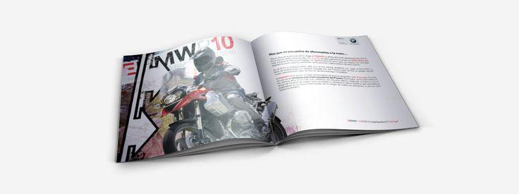 Diseño y maquetación del cuaderno comercial para el encuentro motero de BMW que se celebra cada año en Formigal. En este cuaderno de 12 páginas damos protagonismo al producto y, a través de la gráfica, evocamos la idea del placer del viaje por carretera.