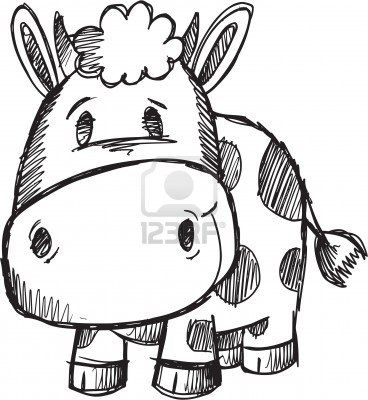Cute Doodle Sketch Cow Vector Illustration  Stock Photo-  I want this somewhere in purple...