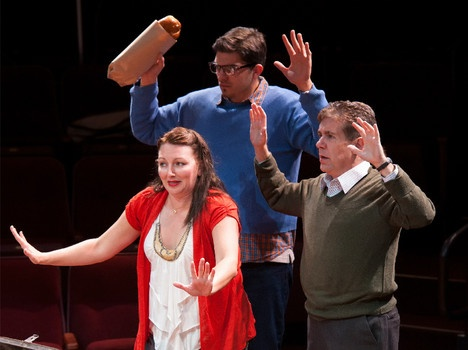 Amie Bjorkland as Susan Timmerman, Brett Etzel as Steve Timmerman, Matthew Cary as Sam Gunderson in 'The Hit' at the Hale Centre Theatre - #examinercom