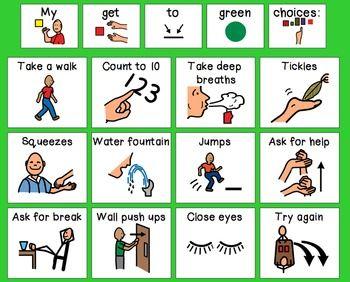 """Zones of Regulation """"Get to Green"""" Calming Strategies Visual"""