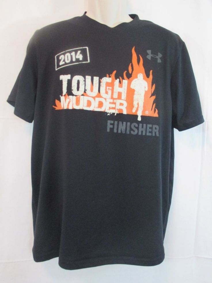 UNDER ARMOUT TOUGH MUDDER 2014 FINISHER HEAT GEAR ATLANTA GA BLACK LARGE #UnderArmour #ShirtsTops