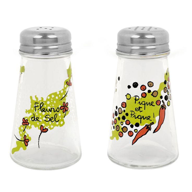 Ménagère en verre sel et poivre Pique et fleurs - Derrière La Porte DLP - Accessoire cuisine et rangement/Salière et poivrière originales - ...