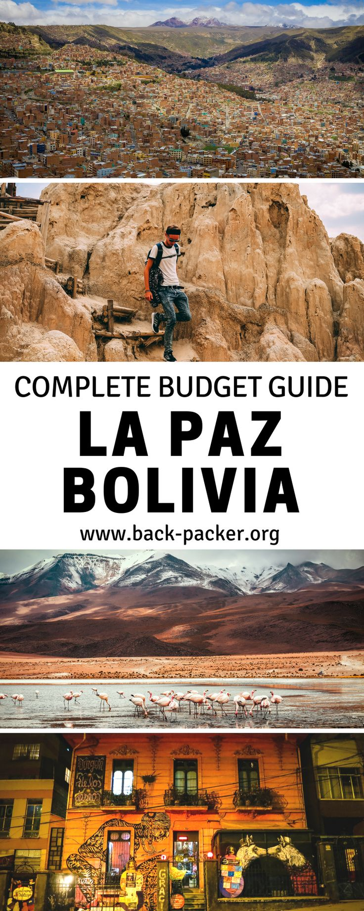 A travel guide to La Paz, Bolivia: what to do and where to eat and sleep on a budget. Explore the weird shops at Witches Market or experience the nightlife in one of the most popular party places. Take advantage of the restaurants as the food is cheaper than at the store. Travel in South America.| Back-packer.org #LaPaz #Bolivia
