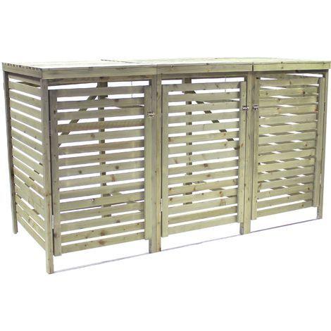 Charles Bentley Wooden Outdoor Wheelie Bin Storage Shed Cupboard Unit - Triple
