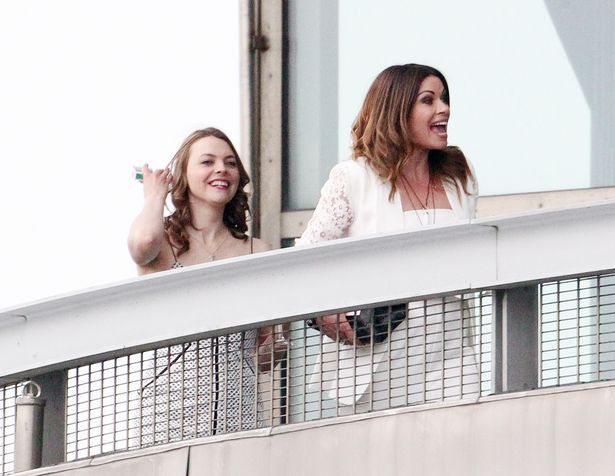 Alison King and Kate Ford on the balcony of the bar