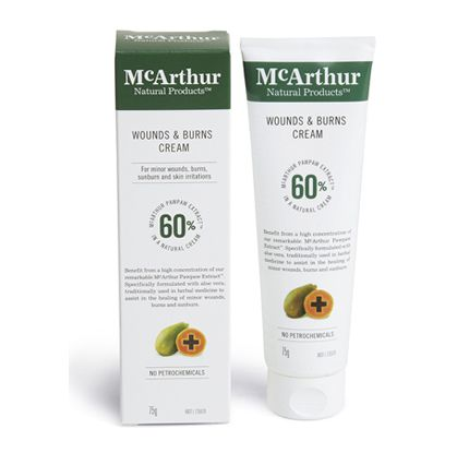 Wounds & Burns Cream 75g – $25.95 * Always read the label. Use only as directed. If symptoms persist see your healthcare professional.  Visit our website at http://mcarthurnaturalproducts.com for more details.