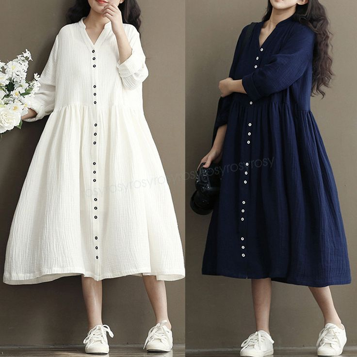 Cotton Line Ladies Loose Long Sleeve Dress A-Line Maxi Shirt Dress Casual White