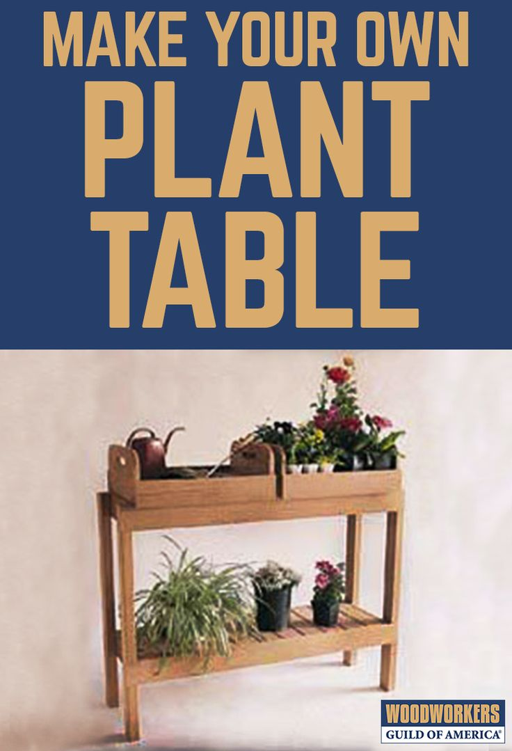 The project is about 34 inches tall – standard counter height – by 46 inches long by 15 inches wide. It supports two removable trays, each measuring 7 inches tall by 21 inches long by 17 inches wide. The trays, with cut-out handholds, allow gardeners to carry flowers and plants to the garden for planting or to move them for proper exposure to the sun. Both trays and the bottom shelf of the table are slatted for drainage.