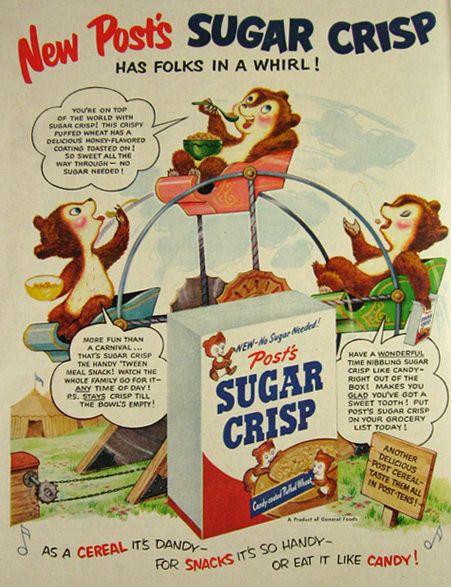 vintage candy print ads | Original vintage magazine print ad for Post Sugar Crisp Cereal.