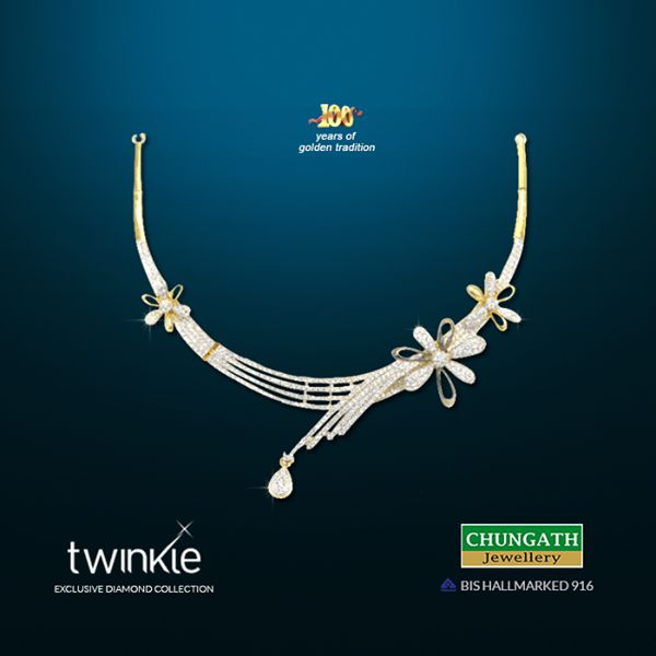 Exclusive Twinkle # ‎Diamond  #‎ Necklace  from Chungath Jewellery that makes you more  #‎ Beautiful! www.chungathjewellery.com