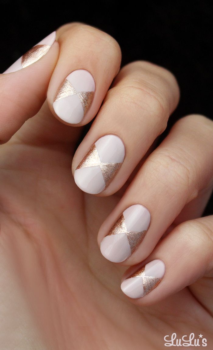 { Pink and Rose Gold Bow Nail }