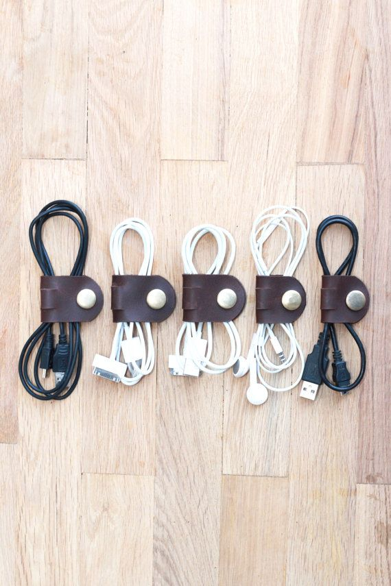 Leather cable band cord organizer hand made of chocolate brown pull up leather