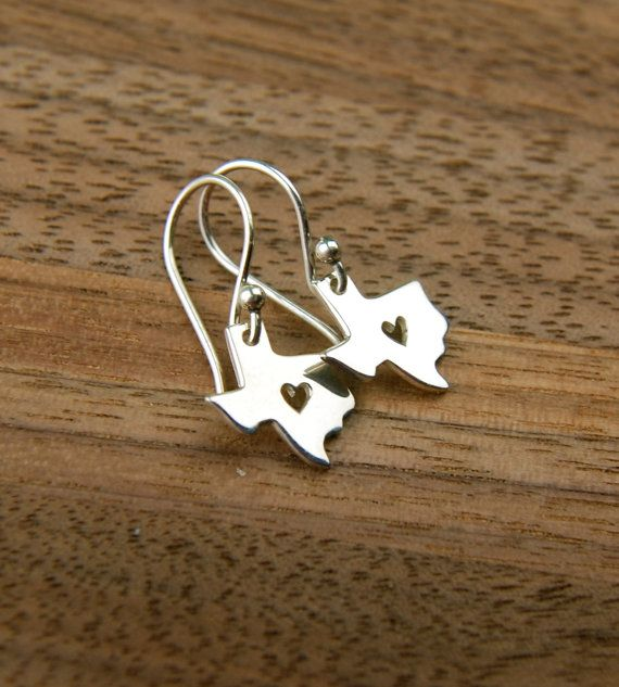 Texas state charm with heart earrings heart of by jersey608jewelry