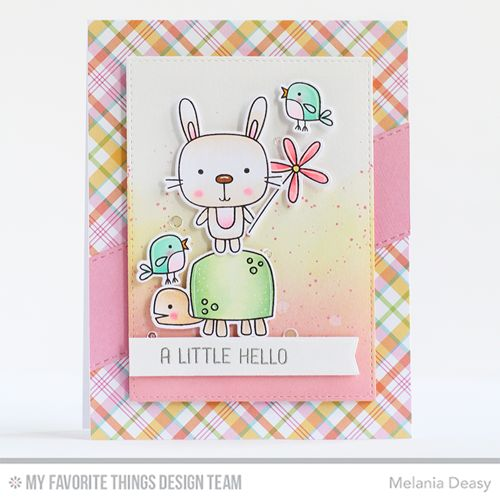 Handmade card from Melania Deasy featuring Springtime Critters Stamp Set and Die-namics, Springtime Blooms Stamp Set and Die-namics, Blueprints 27 Die-namics, Inside & Out Stitched Rectangle STAX Die-namics, Stitched Fishtail Flag STAX Die-namics from My Favorite Things #mftstamps