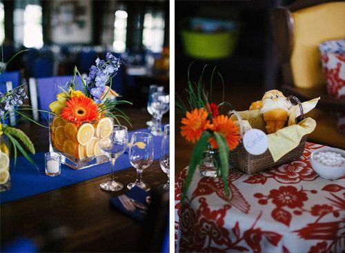 Lindsay & Ashraf's multi-lingual vegan-friendly atheist wedding | Offbeat Bride. Love the use of citrus.