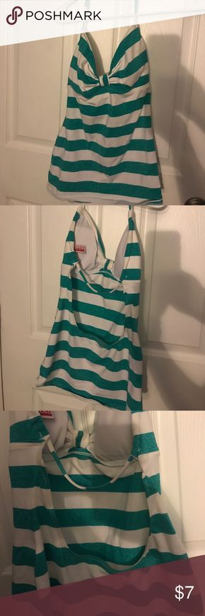 Tankini top Glitter striped tankini top. Ties around neck. Largely opened back. Swim