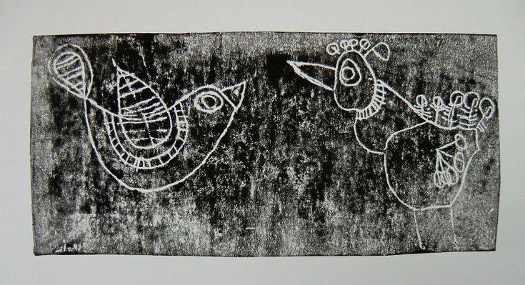 OKRASNÁ PTAČÍ TĚLA - reálné zachycení tvaru ptačího těla, uplatnění dekoru (tisk z výšky - folioryt)