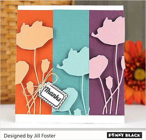 jill Penny Black flower die and blooming tags stamp