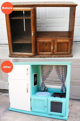 Before & After: Turn an Old Entertainment Cabinet into a Kid's Retro Kitchen...hey Boys can cook too! ;)