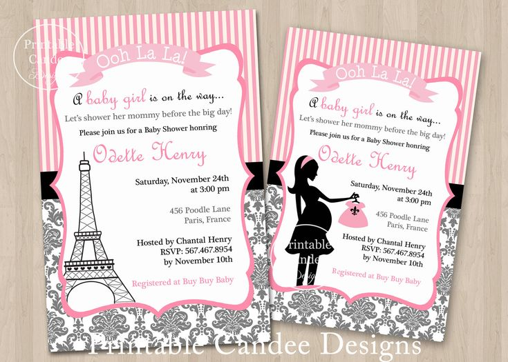 Paris Baby Shower Invitation   Paris Baby Shower   Paris Invitation    Damask Baby Shower   French Baby Shower   Printable Shower Invitation