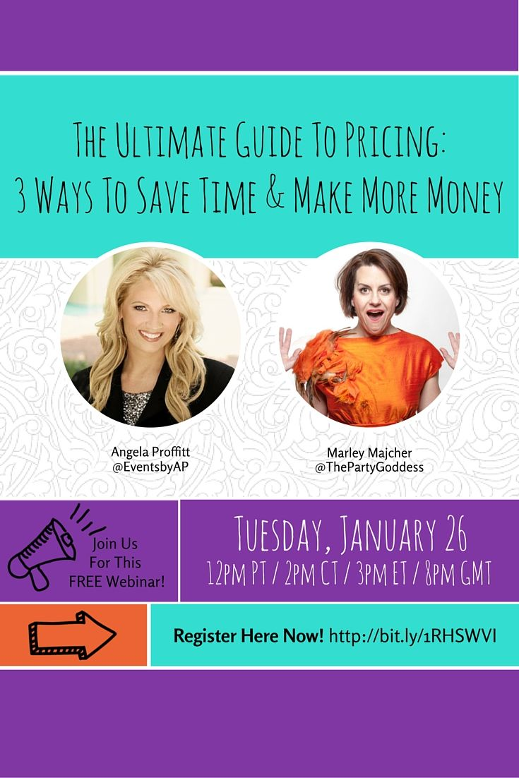 """Angela and Marley are back with another webinar you won't want to miss!    Join @EventsbyAP & @ThePartyGoddess for a great #pricing & #productivity webinar """"The Ultimate Guide To Pricing: 3 Ways To Save Time & Make More Money""""!   Register here for this FREE webinar: http://unbouncepages.com/ultimatepricing/"""