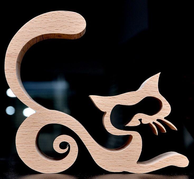 Sierlijke kat | Houtwerken van katten. | wooden-gifts