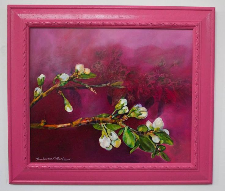 Blossom Pink 44 x 37cm Oil on wood.