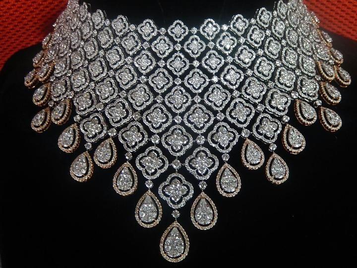 Diamond Necklace Oval Shape by Ansh Gems | Jivaana.com