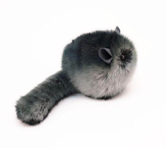 Stuffed Chinchilla Stuffed Animal Cute Plush Toy Chinchilla Kawaii Plushie Smokey the Dark Grey Cuddly Faux Fur Chinchilla Small 4x5 Inches