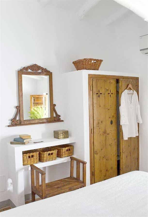 Bedroom: Spanish Coastal Bedroom Design Ideas In White With Wooden Closet Doors And Ancient Stand Mirror Featuring Three Wicker Rattan Basket And Wooden Chair, Spanish Style Bedroom Furniture Ideas. 611x894 pixels