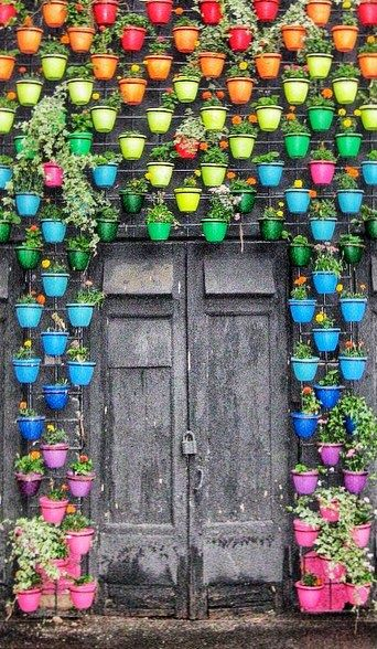 Beautiful colouful jars surround the rustic doors!