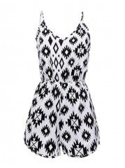 Printed Spaghetti Strap Absorbing Jumpsuits