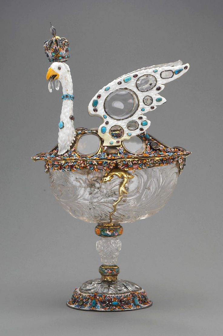 Crystal goblet centrepiece in form of a white double-headed eagle by Anonymous from Augsburg, ca. 1670, Kunsthistorisches Museum, possibly made for  Eleanor Maria Josepha of Austria