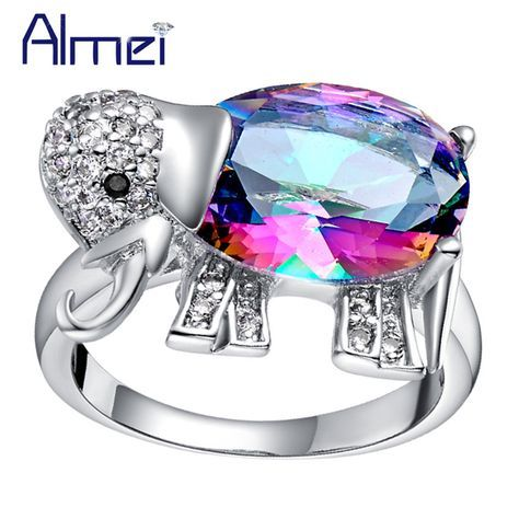 Find More Rings Information about Almei Fashion Crystal Cute Elephant Dieren Ring for Women Party Girls Aneis de Diamante Rainbow Stone Sapphire Ruby Jewelry J378,High Quality ring bumper,China ring fabric Suppliers, Cheap ring bearing from Almei Jewelry Store on Aliexpress.com
