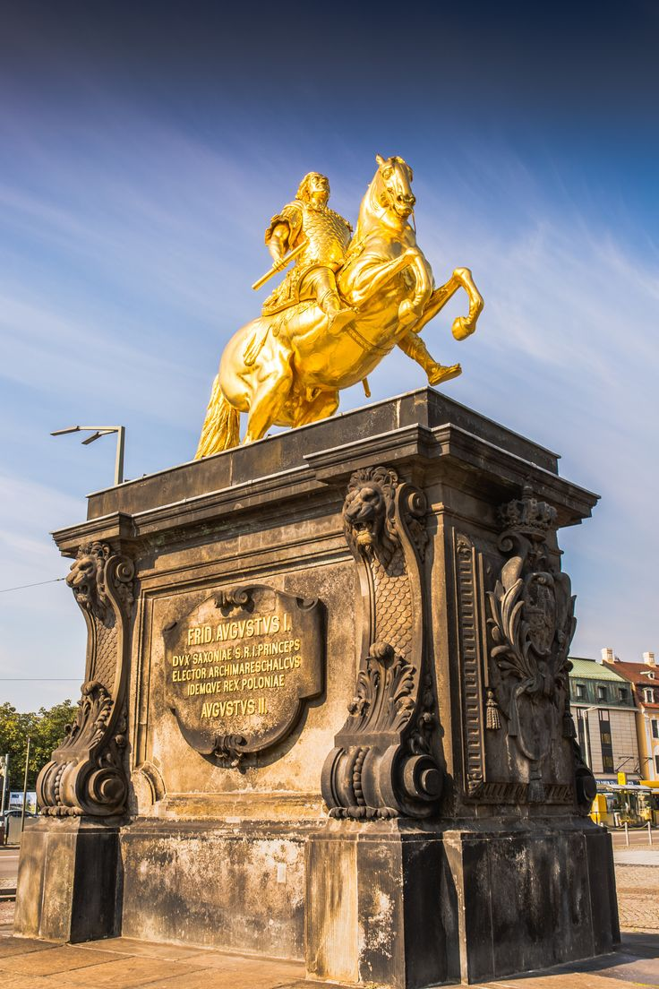Goldener Reiter by Paulo dos Santos- The Goldener Reiter (Golden Rider), a gilded equestrian statue of Augustus the Strong is one of Dresden's best known landmarks. It stands at the Hauptstrasse, the main pedestrian boulevard in Dresden's Neustadt district, just across the Augustusbridge from the Schlossplatz. …