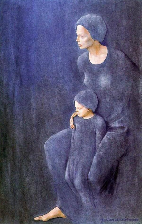 blue - woman  and child - painting - Montserrat Gudiol - Madre E Hijo, 1985