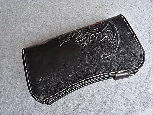 leon / Peňaženka gotická ruža, čierna koža