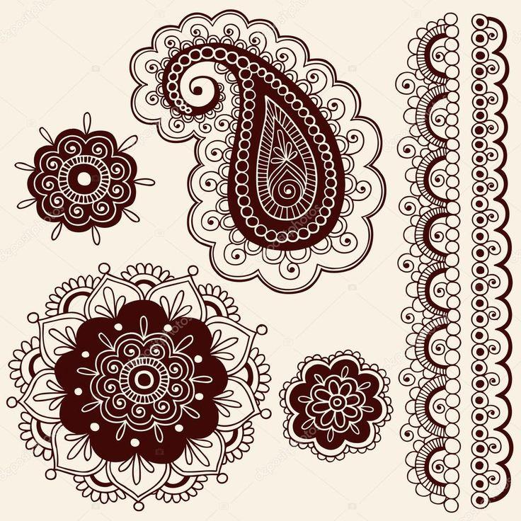Dessinées à la main Résumé henna mehndi mandala fleurs, design frontière et paisley doodles vector éléments de conception d'illustration