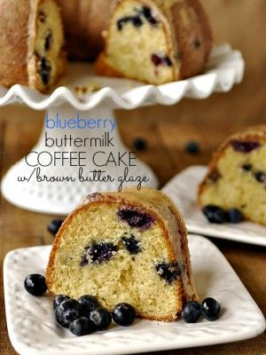 Blueberry Buttermilk Coffee Cake with Brown Butter Glaze