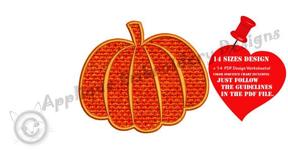 Pumpkin Embroidery Applique Design Halloween
