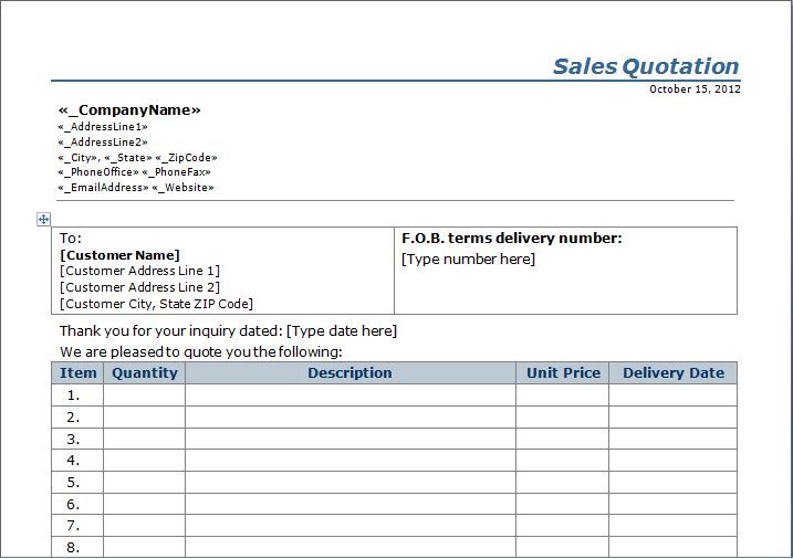 Quotation Excel Template Free Download