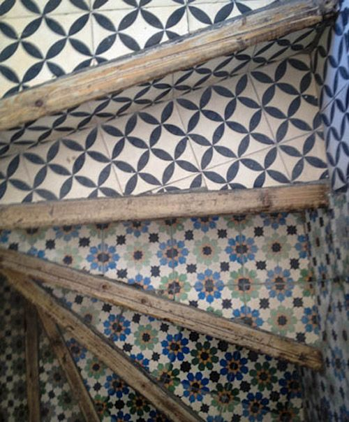 Moroccan cement tile stairs. .