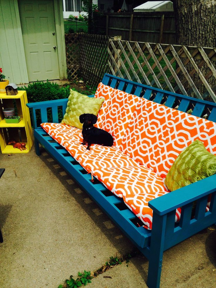 Old futon frame~ weatherproof spray paint and outdoor cushions= new patio  furniture! - 25+ Best Ideas About Cheap Patio Cushions On Pinterest Cheap