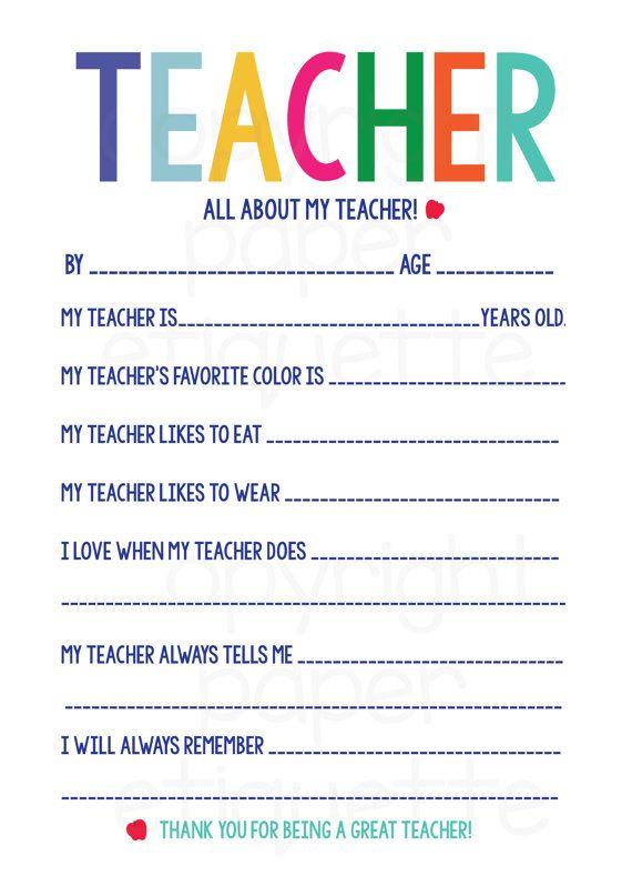 all about my teacher teacher appreciation    by